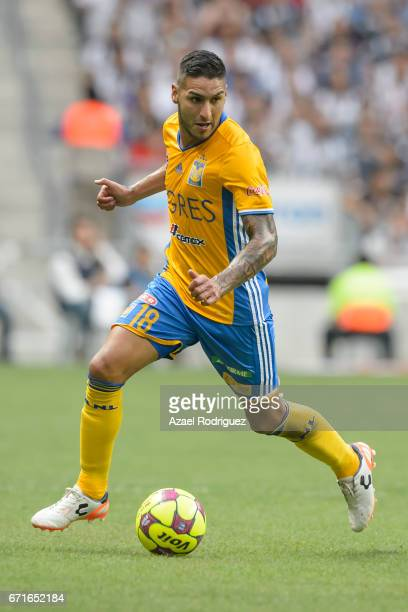Ismael Sosa of Tigres drives the ball during the 15th round match between Monterrey and Tigres UANL as part of the Torneo Clausura 2017 Liga MX at...