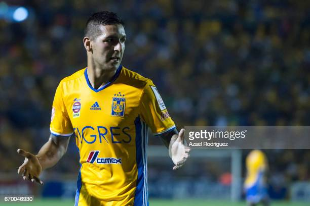 Ismael Sosa of Tigres gestures during the Final first leg match between Tigres UANL and Pachuca as part of the CONCACAF Champions League 2016/17 at...