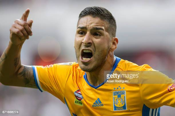 Ismael Sosa of Tigres reacts during the 15th round match between Monterrey and Tigres UANL as part of the Torneo Clausura 2017 Liga MX at BBVA...