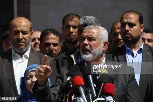 Ismail Haniya leader of Hamas gives delivers an address during a press conference in Gaza City on May 11 in which the group announced the arrest of...