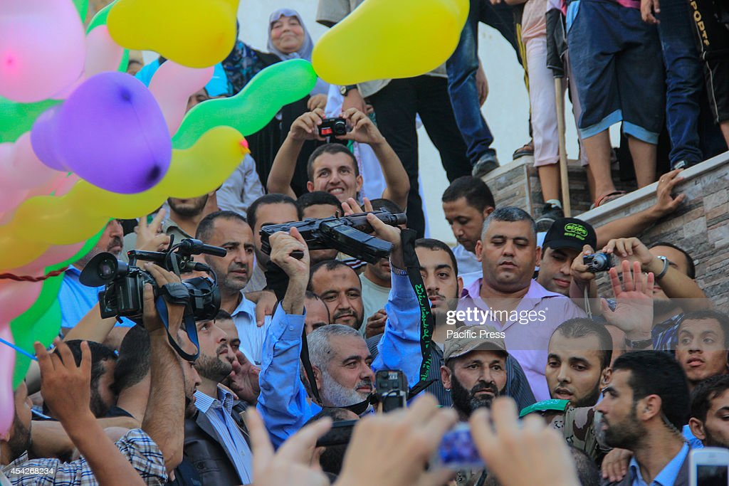 Ismail Haniyeh, Deputy of the Political Bureau of Hamas, speaks to the crowd during the celebration of the ceasefire between Israel and the Palestinian resistance.