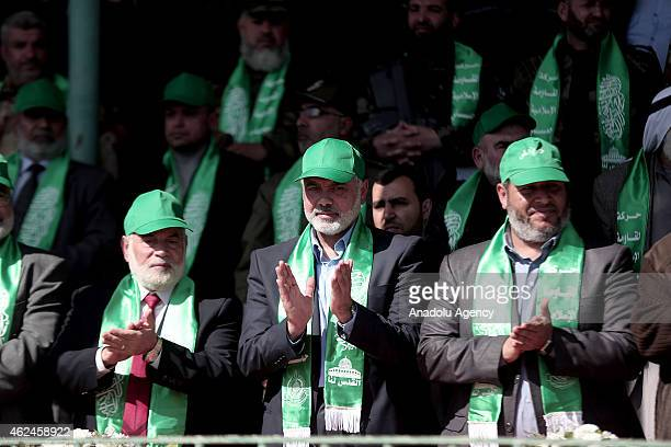 Ismail Haniyeh head of the Hamas political wing and Hamas Official Ahmad Bahr are seen during the graduation ceremony of Izz adDin alQassam Brigades...