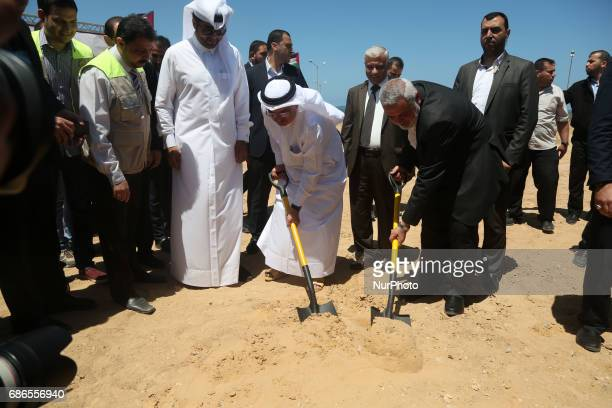 Ismail Haniyeh leader of Hamas and Qatar's Ambassador to the Palestinian Authority Mohammed Al Emadi attend the ceremony of establishment of the...