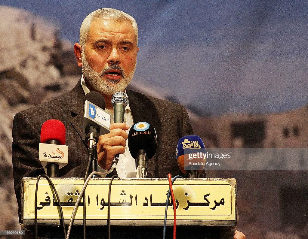 <a gi-track='captionPersonalityLinkClicked' href=/galleries/search?phrase=Ismail+Haniyeh&family=editorial&specificpeople=543410 ng-click='$event.stopPropagation()'>Ismail Haniyeh</a>, the vice chairman of Hamas political bureau, speaks during an event in Gaza, Gaza City on March 19,2015.