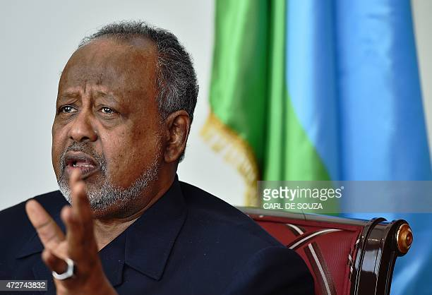 Ismail Omar Guelleh President of Djibouti speaks during an interview with AFP at the State House Djibouti on May 6 2015 During an interview with AFP...