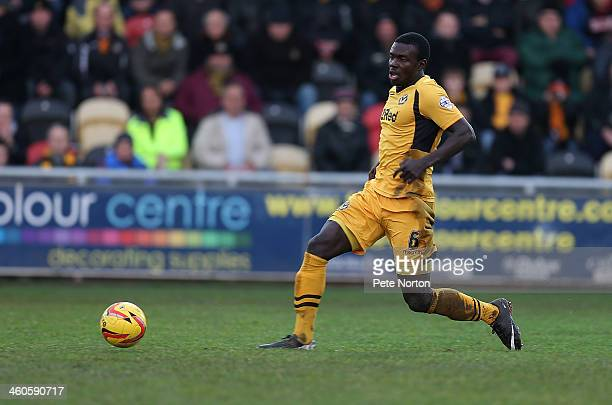 Ismail Yakubu of Newport County AFC in action during the Sky Bet League Two match between Newport County and Northampton Town at Rodney Parade on...