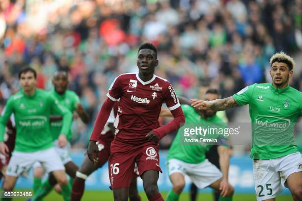 Ismaila Sarr of Metz during the French Ligue 1 match between Saint Etienne and Metz at Stade GeoffroyGuichard on March 12 2017 in SaintEtienne France