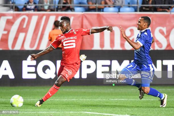 Ismaila Sarr of Rennes and Johann of Troyes during the Ligue 1 match between Troyes AC and Stade Rennais at Stade de l'Aube on August 5 2017 in Troyes
