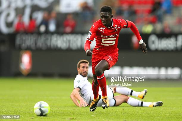 Ismaila Sarr of Rennes ans Romain Amalfitano of Dijon during the Ligue 1 match between Stade Rennais and Dijon FCO at Roazhon Park on August 19 2017...