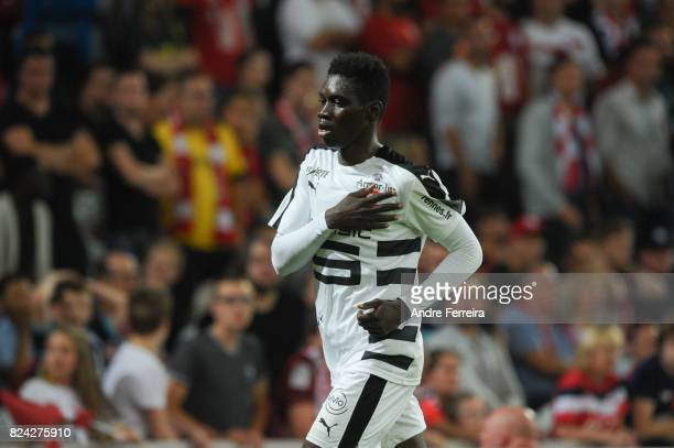 Ismaila Sarr of Rennes celebrates his goal during the Friendly match between Lille and Rennes at Stade Pierre Mauroy on July 29 2017 in Lille France