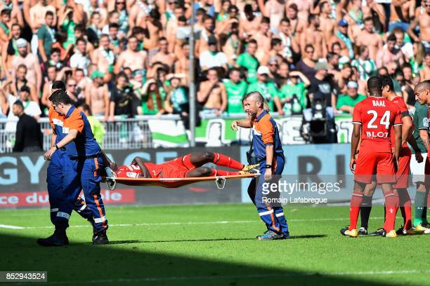 Ismaila Sarr of Rennes during the Ligue 1 match between AS SaintEtienne and Stade Rennais at Stade GeoffroyGuichard on September 24 2017 in...