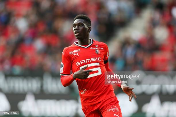 Ismaila Sarr of Rennes during the Ligue 1 match between Stade Rennais and Dijon FCO at Roazhon Park on August 19 2017 in Rennes