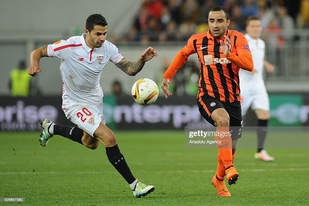 Ismaily of Shakhtar Donetsk (R) competes for the ball with Vitolo (L) of Sevilla FC during the UEFA Europa League Semi-finals soccer match between Shakhtar Donetsk and Sevilla FC at Lviv Arena stadium on April 28, 2016, in Lviv, Ukraine.