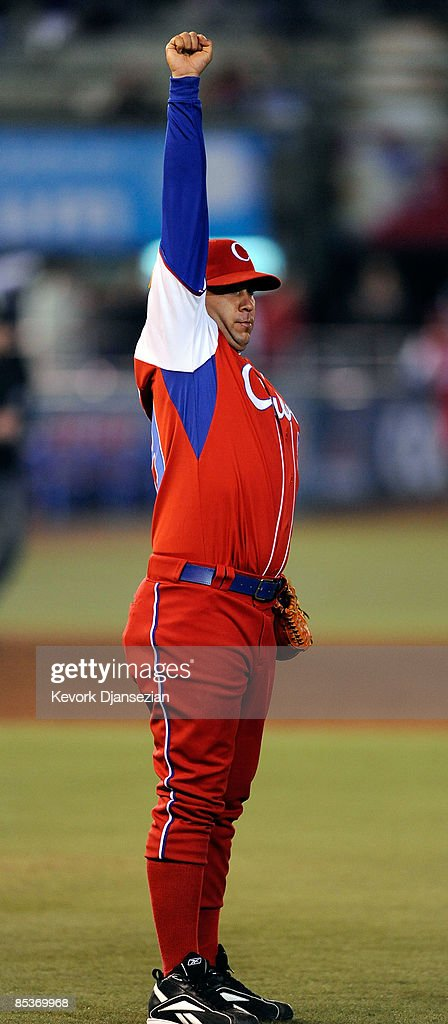 Ismel Jimenez #59 of Cuba celebrates a game against Australia during the 2009 World Baseball Classic Pool B match on March 10, 2009 at the Estadio Foro Sol in Mexico City, Mexico. Cuba won, 5-4, to advance.