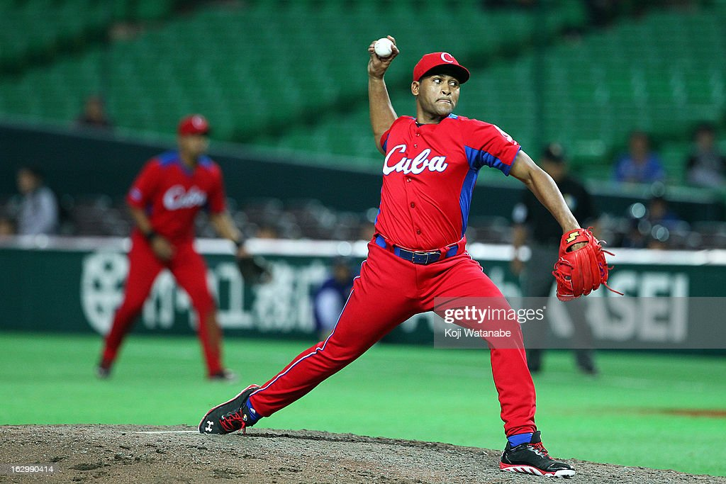 Ismel Jimenez #23 of Cuba pitcher against Brazil during the World Baseball Classic First Round Group A game between Brazil and Cuba at Fukuoka Yahoo! Japan Dome on March 3, 2013 in Fukuoka, Japan.