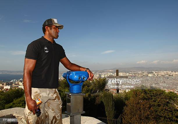 Isoa Domolailai of Fiji takes in the view at the Basilique NotreDame de la Garde October 4 2007 in Marseille France