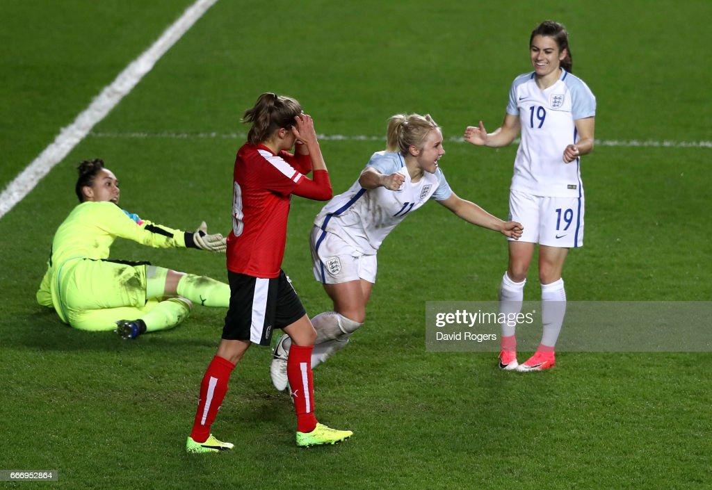 Isobel Christiansen of England (11) celebrates as she scores their third goal during the Women's International Friendly match between England and Austria at Stadium mk on April 10, 2017 in Milton Keynes, England.