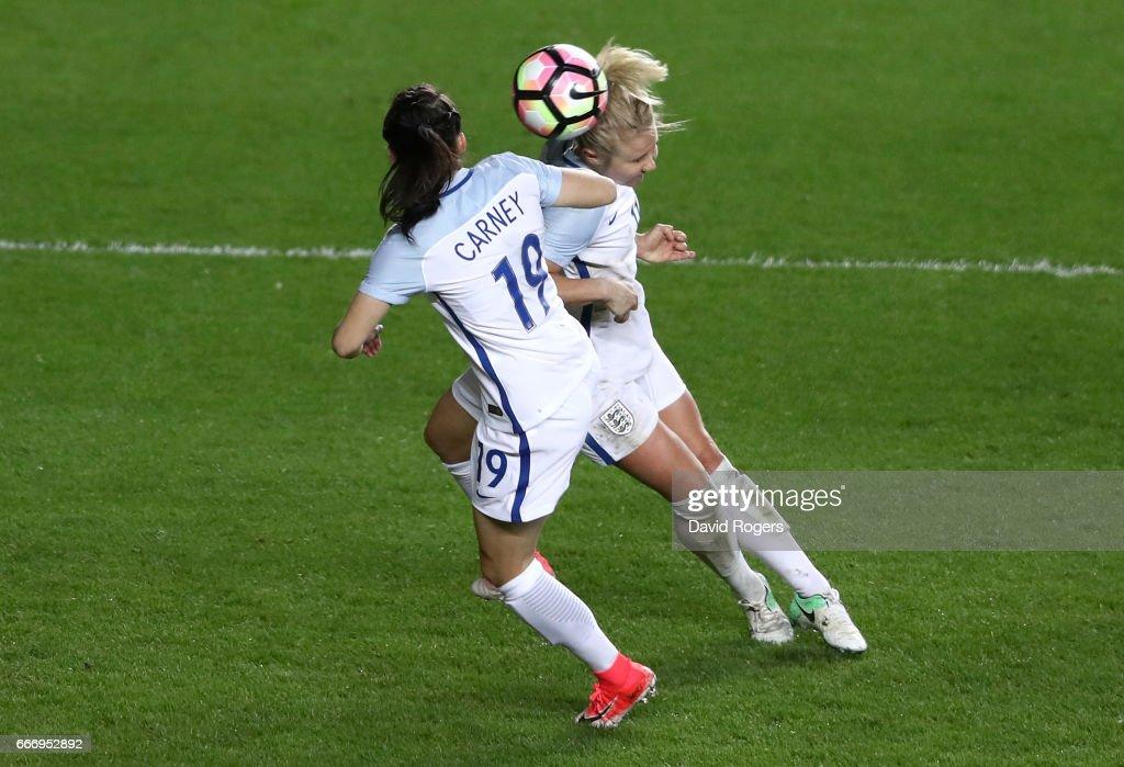 Isobel Christiansen of England (R) scores their third goal during the Women's International Friendly match between England and Austria at Stadium mk on April 10, 2017 in Milton Keynes, England.