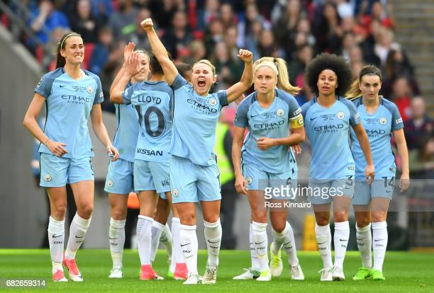 Isobel Christiansen of Manchester City celebrates scoring her sides second goal during the SSE Women's FA Cup Final between Birmingham City Ladies...