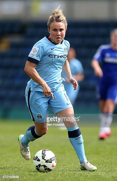 Isobel Christiansen of Manchester City in action during the Women's FA Cup Semi Final match between Chelsea Ladies and Manchester City Women at Adams...