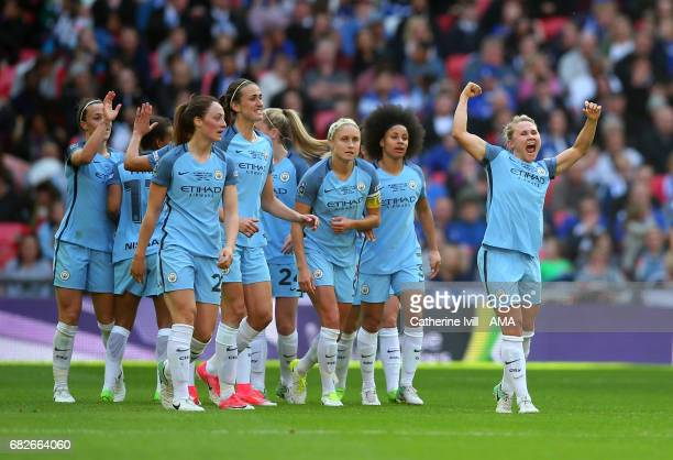 LONDON ENGLAND MAY 13 Isobel Christiansen of Manchester City Women celebrates after she scores to make it 02 during the SSE Women's FA Cup Final...