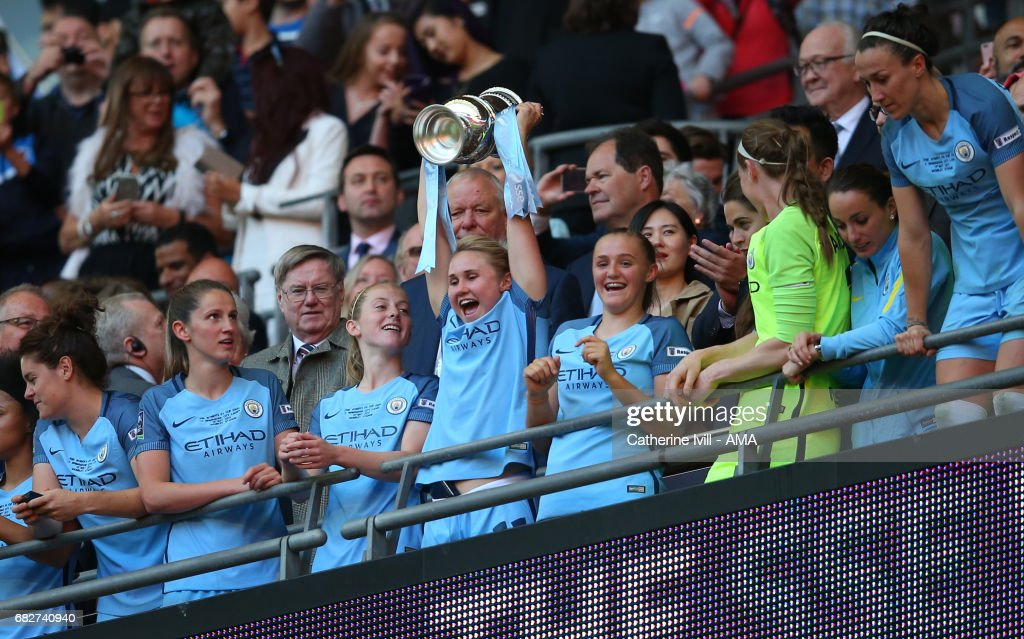 Isobel Christiansen of Manchester City Women celebrates with the trophy during the SSE Women's FA Cup Final between Birmingham City Ladies and Manchester City Women at Wembley Stadium on May 13, 2017 in London, England.