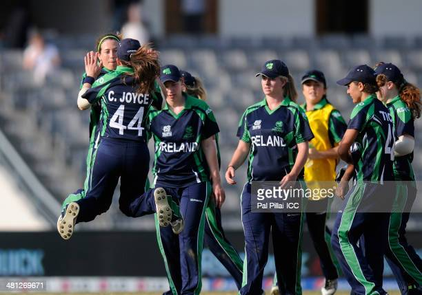 Isobel Joyce captain of Ireland celebrates the wicket of Lizelle Lee of South Africa during the ICC Women's world twenty20 match between South Africa...