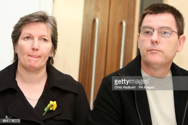 Isobella Clennell mother of murdered prostitute Paula Clennell with her partner Andy Knotts during a news conference as a statement is read following...