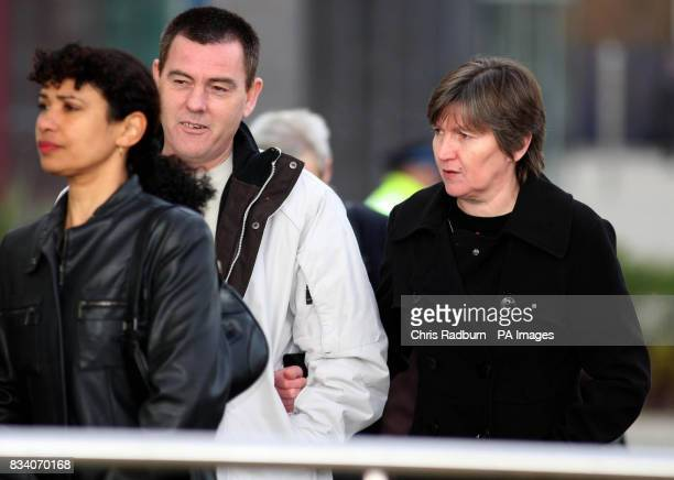 Isobella Clennell [right] mother of murdered prostitute Paula Clennell accompanied by her partner Andy Knock arrive at Ipswich Crown Court Ipswich...