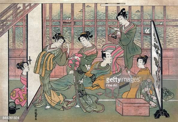 Isoda Koryusai fl 17641788 Shinagawa yusho no enseki Date Created/Published 1774 printed later Color woodcut Print shows five courtesans attending to...