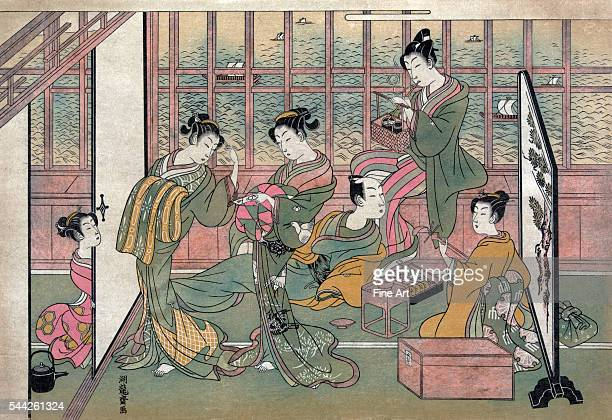 Isoda Koryusai fl 17641788 Shinagawa yusho no enseki Date Created/Published 1774 printed later Color woodcut Print shows five courtesans attending to...