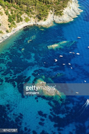 Isola d'Elba-Pomonte Praia Naufrágio : Foto de stock