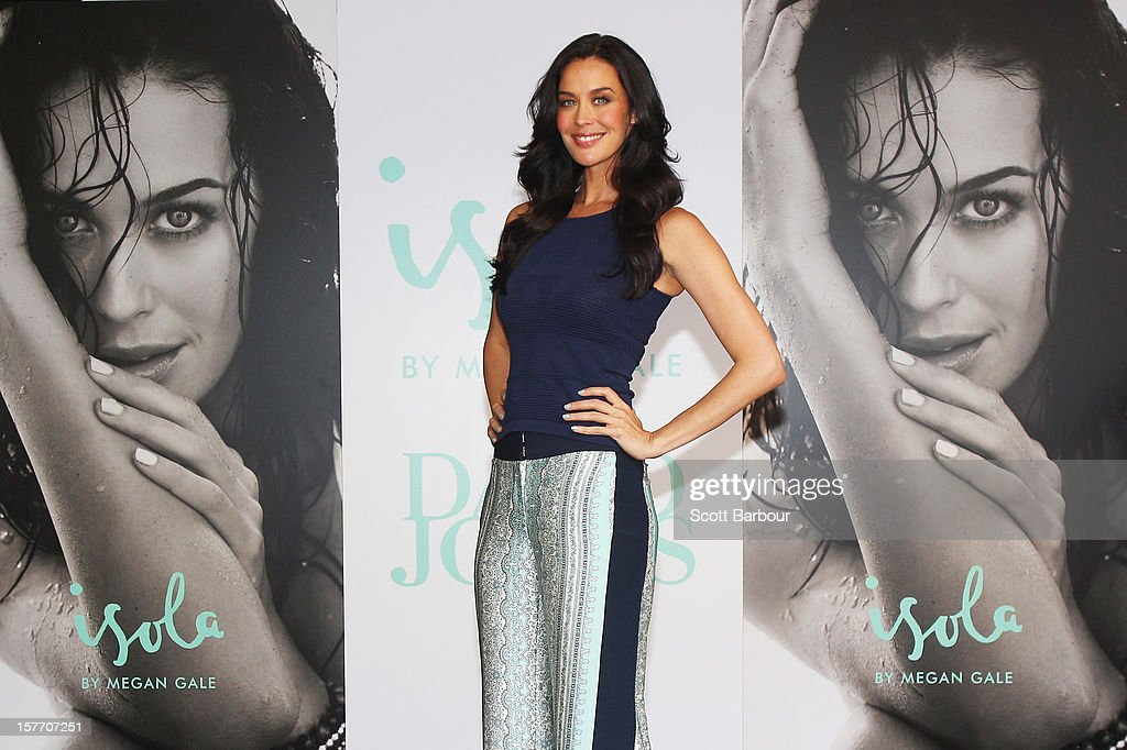Isola designer Megan Gale poses during an Isola Swimwear range preview event at David Jones Bourke Street on December 6, 2012 in Melbourne, Australia.