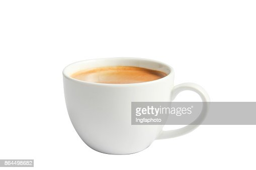 Isolate hot coffee in ceramic mug on white. : Stock Photo