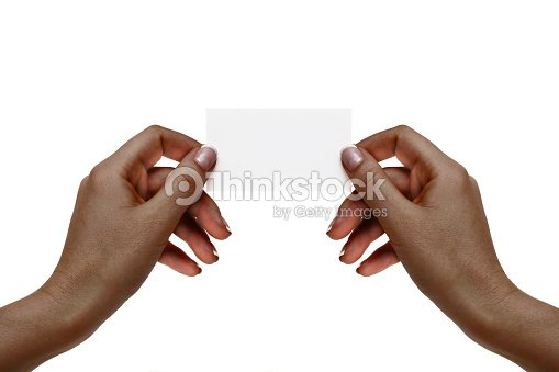 Isolated african female hands hold white card on a white background. : Foto de stock