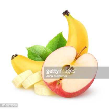 Isolated apple and banana : Stock Photo