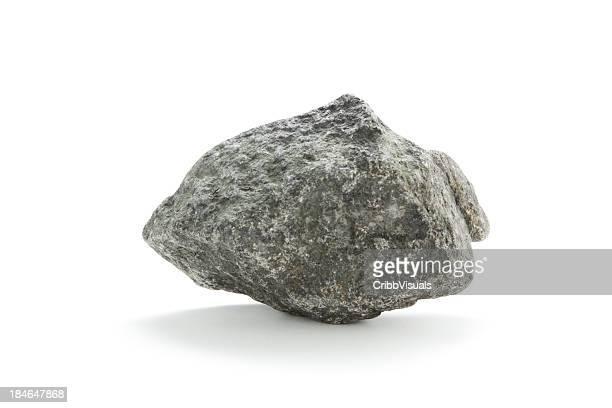 Isolated basalt rock on white