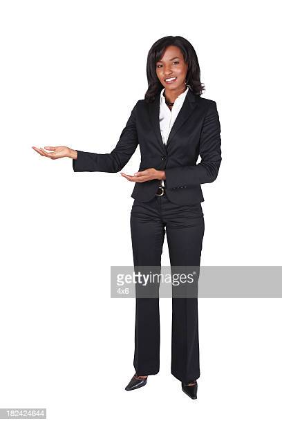 Isolated black businesswoman presenting