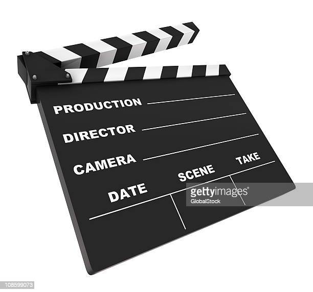 Isolated blank directors clapboard on white background