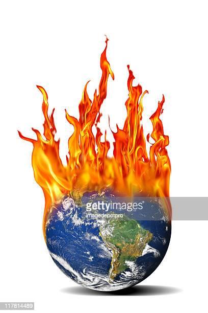 isolated burning world