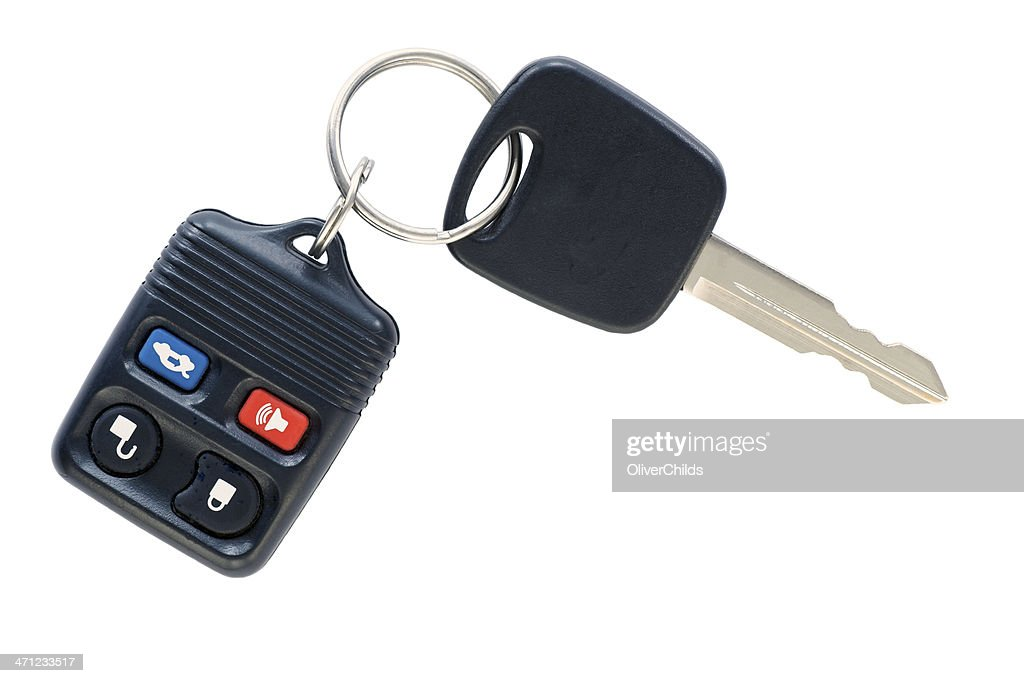 Isolated car key and remote. : Stock Photo