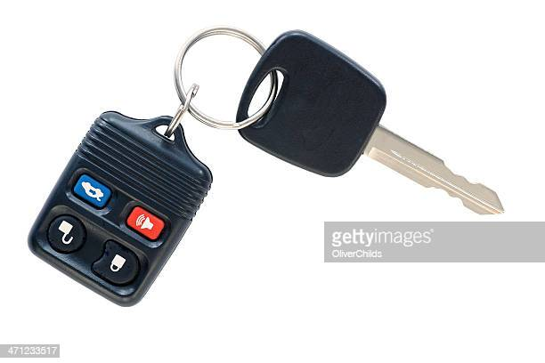 Isolated car key and remote.