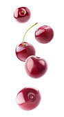 Isolated flying berries. Five falling sweet cherry fruits isolated on white background with clipping path