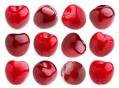 Isolated cherry. Collection of cherries isolated on white background with clipping path
