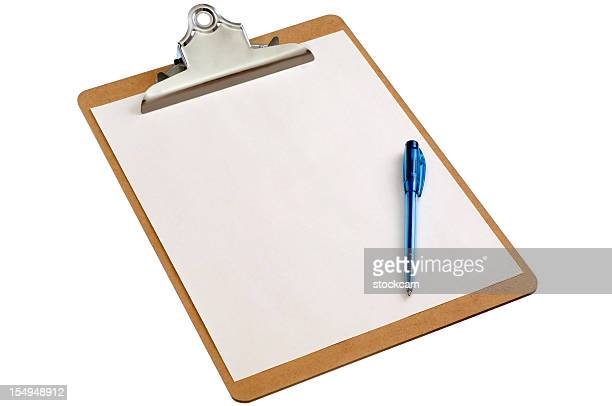 Isolated clipboard with blank sheet of paper and pen