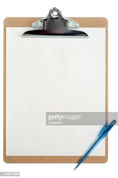 Isolated clipboard with blank sheet of paper