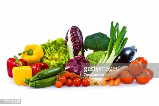 isolated colorful vegetable arrangement : Stock Photo