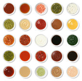 Isolated Condiment Collection Assortment