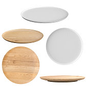 3d rendering wooden dish and white dish isolated on white