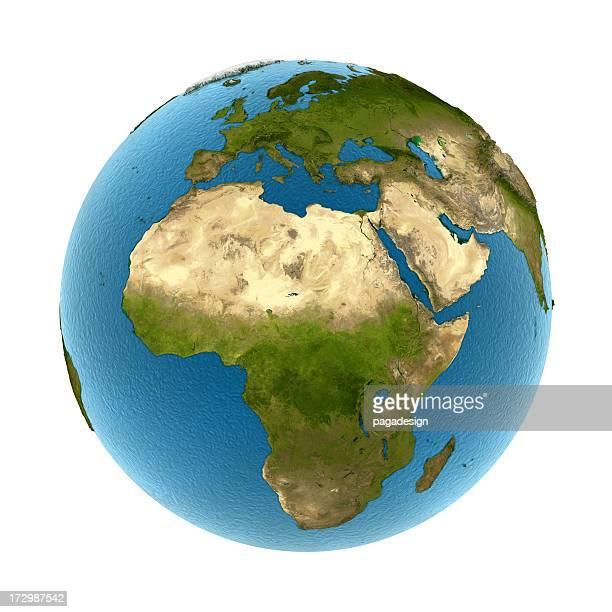 Isolierte Erde-Afrika & Europa: Konvex land 3d Meer